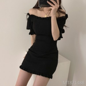 Sexy word collar wooden ear slim dress short skirt
