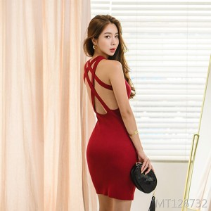 Open back sexy knit strap dress bag hip skirt