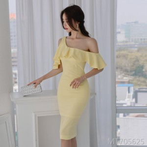 Off-the-shoulder slim dress female lady dress skirt hip skirt