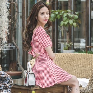 Red and white personality sexy backless bow ruffled dress short skirt