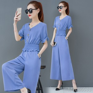 New temperament waist slimming high waist wide leg pants two-piece