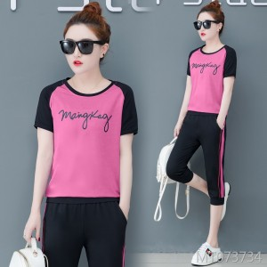 Korean short-sleeved cropped trousers fashion loose casual two-piece tide