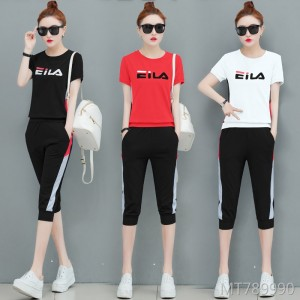 Summer summer new fashion Korean version of the cropped trousers two sets