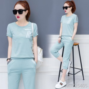 Short-sleeved seven-point shorts Korean version of the tide casual sports suit female summer two-piece