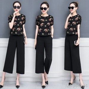 Summer temperament fashionable chiffon wide-leg pants two-piece suit