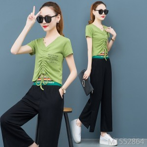 V-neck drawstring avocado green top two-piece wide leg pants suit