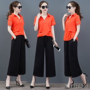 Loose short-sleeved wide-leg nine-pants sportswear two-piece suit