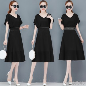 Waist slimming temperament black short sleeve long skirt tide