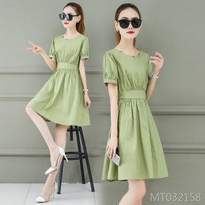 Matcha Green Sen female waist slimming temperament vibrato dress