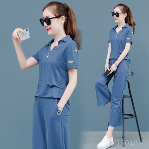 Foreign air loose short-sleeved wide-leg nine-pants sportswear two-piece suit