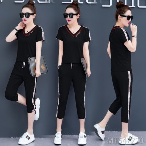 Korean version of the loose short-sleeved cropped trousers running suit summer two-piece