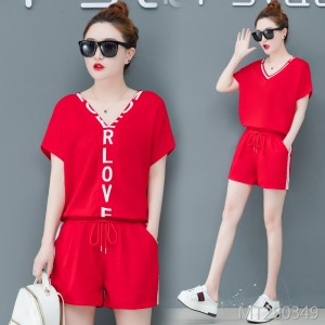 Korean version of the loose short-sleeved casual shorts fashion running clothes two sets of tide