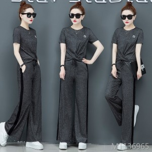 New summer temperament ocean age aging wide leg pants women's clothing