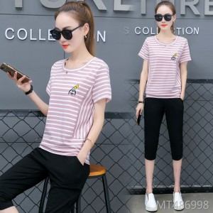 New cotton short-sleeved t-shirt cropped trousers loose large size two-piece