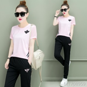 Slim sweater summer short-sleeved trousers sports running two-piece suit