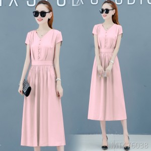 v collar high waist long skirt temperament was thin popular skirt tide