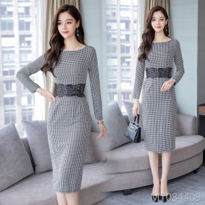 Black and white grid dress waist slimming long fashion