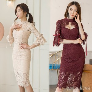 1253#2018 Women's Korean version of the new fashion lace perspective tight bag hip long section hanging neck dress