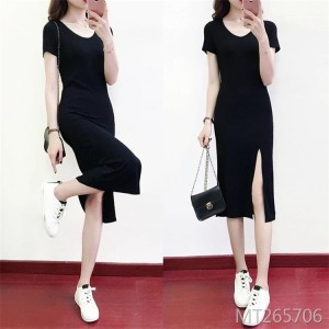 Black split long skirt was thin and careful machine dress female
