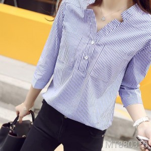 Classic vertical stripes slim collar collar pullover shirt
