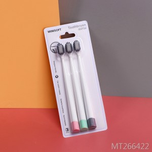 High quality soft fur family clean bamboo charcoal 3 sticks toothbrush