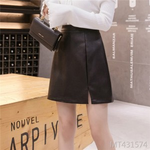 2019 new women's fashion skirt A word trouser skirt short skirt pu skirt