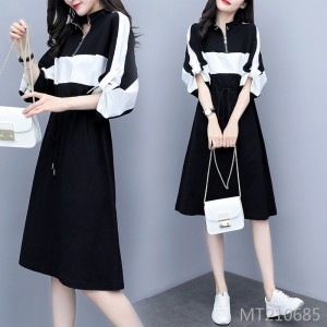 Contrast stitching casual dress fashion ladies style long section dress