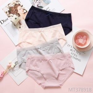 Bow female combed cotton breathable solid color underwear