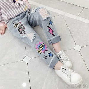 2019 autumn girl hole loose cartoon jeans trousers