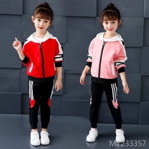 2019 new autumn children's hooded long-sleeved jacket trousers two-piece