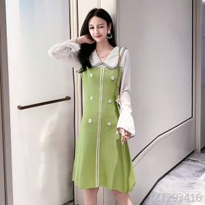 Autumn chic avocado green knit dress female