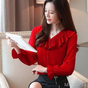 Niche ruffled V-neck small shirt foreign super fairy long-sleeved shirt