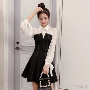 Autumn Korean fashion waist pure color temperament skirt tide