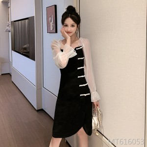 2019 autumn dress Slim thin improved cheongsam foreign gas