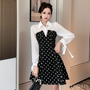Bow Tie Chiffon Splicing Long Sleeve Dress