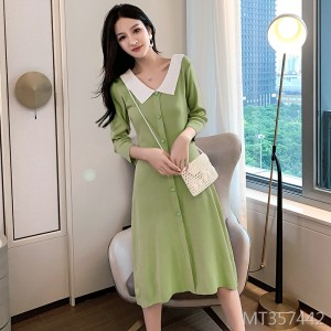 Avocado Green Knit Skirt V-neck Cropped Sleeve Dress