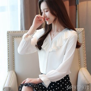 Ruffled V-neck small shirt, foreign super fairy long-sleeved top