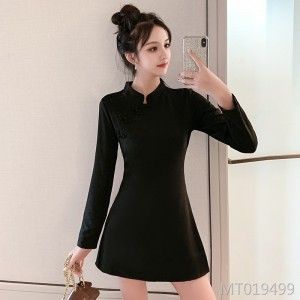 2019 new improved shorts cheongsam dress