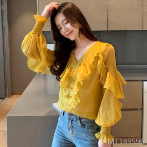 Floral chiffon shirt new wave of foreign gas super fairy thin section