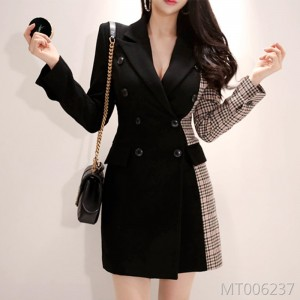 Double-breasted colorblock plaid slim pack hip wool suit jacket female