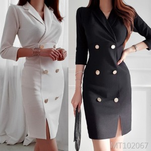 Double-breasted suit collar slim fit hip seven-point sleeve fashion dress