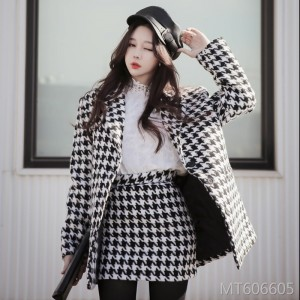 Houndstooth Long Sleeve Jacket + Pack Hip Skirt Two Piece Set