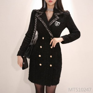 Double-breasted long-sleeved suit short dress coat female