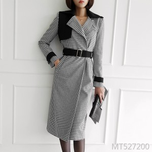 Double-breasted waistband stitching houndstooth woolen coat