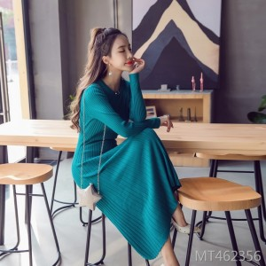 Knitted low-slim round neck long-sleeved waist-core tulle dress