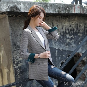 Autumn gray plaid small suit 2019 net red shirt