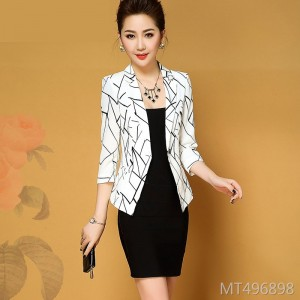 Printed versatile slim short jacket short coat