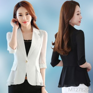 Korean version of the seven-point sleeve ruffled chiffon solid color suit thin section summer