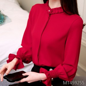 Chiffon shirt women's long sleeves autumn and winter primer