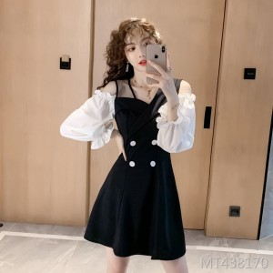 Temperament goddess fan black slim dress